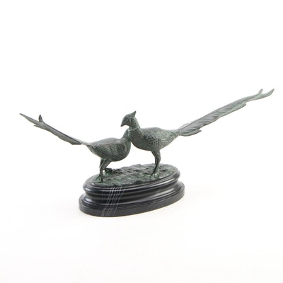 Patinated Bronze Pheasants Statue, Late 20th/21st Century