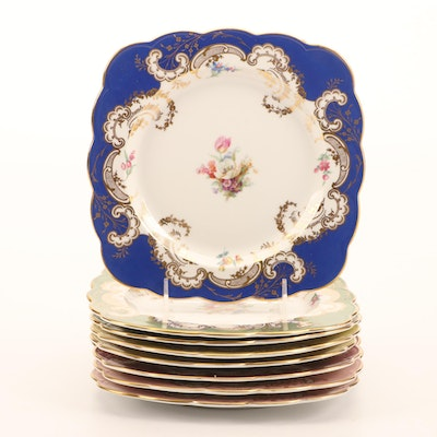 Royal Bayreuth Porcelain Transferware Dessert Plates, Mid to Late 20th Century
