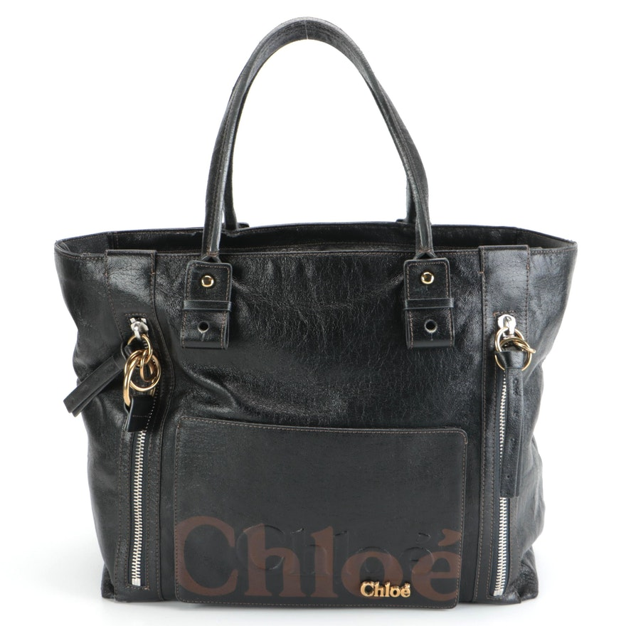 Chloé Shadow Shoulder Bag in Black and Brown Leather