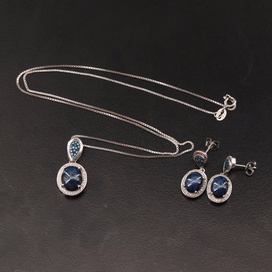 Sterling Silver Star Sapphire and Diamond Pendant Necklace and Drop Earrings Set