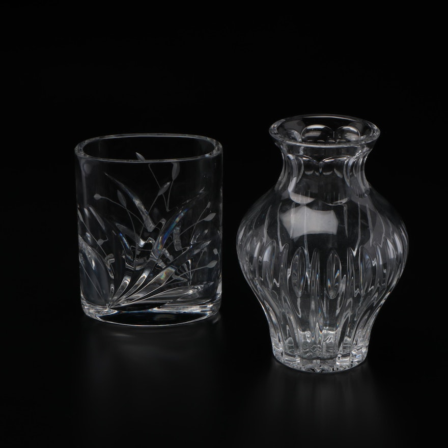 Marquis by Waterford Crystal Vase with Unmarked Cut Glass Vase
