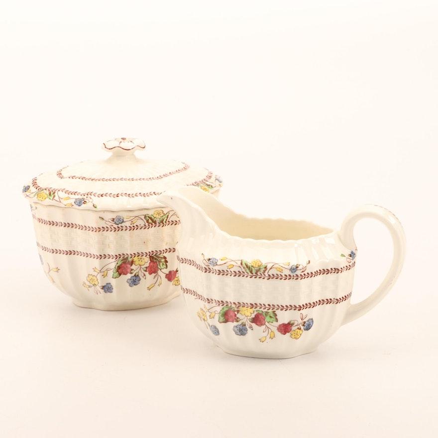"""Spode """"Spode's Cowslip"""" Porcelain Cream Pitcher and Sugar Bowls"""