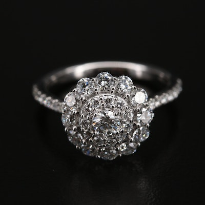 14K 1.00 CTW Diamond Double Halo Ring with Scalloped Detail