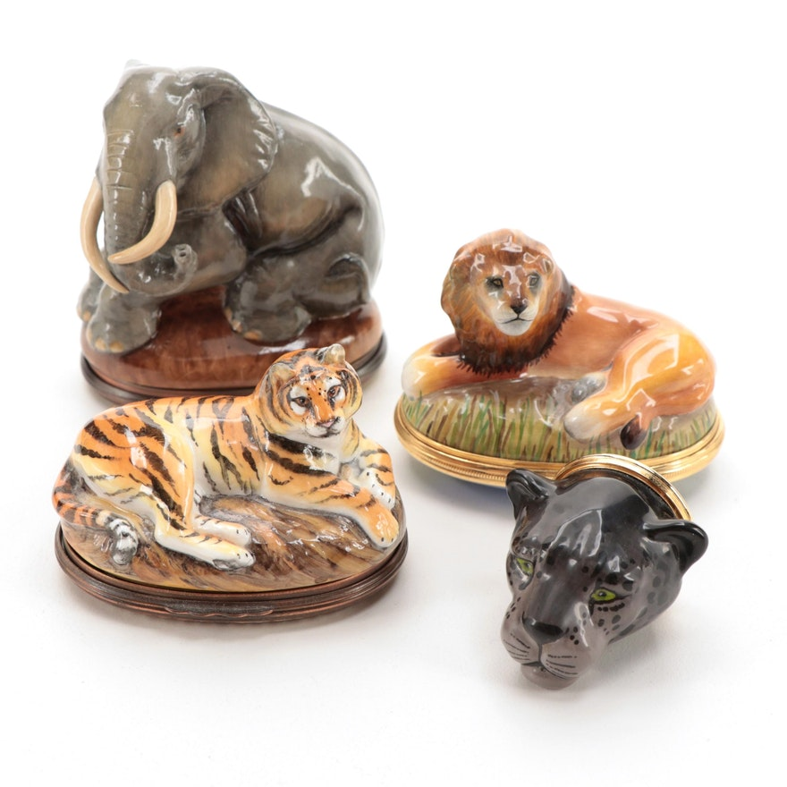 "Halcyon Days ""Tiger"", ""Lion"" and ""Echo"" Enamel Bonbonnière Boxes and Other Box"