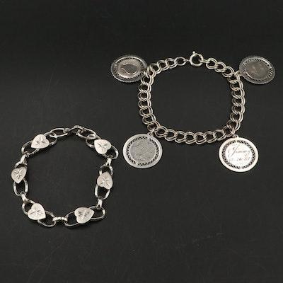 Vintage Sterling Children's Charm Bracelet and Heart Link Bracelet
