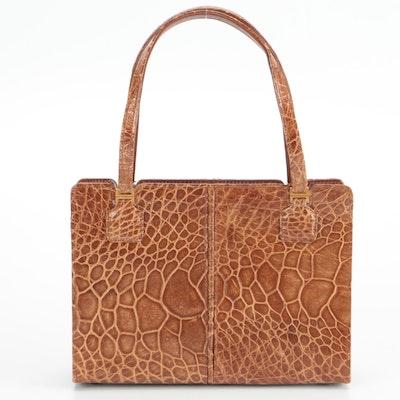 Saks Fifth Avenue Top Handle Bag in Turtle Skin Leather