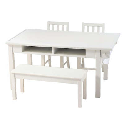 Hayneedle White Lacquered Four-Piece Dining Set
