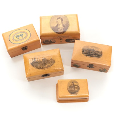 Robert Burns, Crystal Palace, and More Themed Transfer Mauchline Ware Boxes
