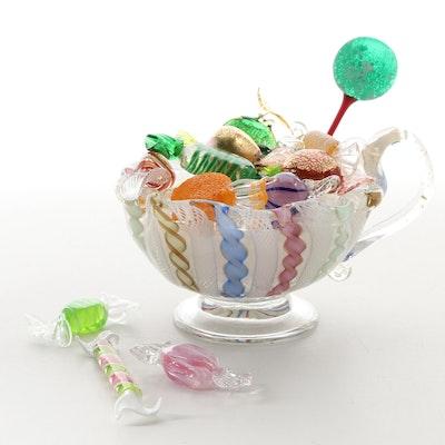 Murano Handblown Zanfirico Glass Candy Dish and Glass Candy