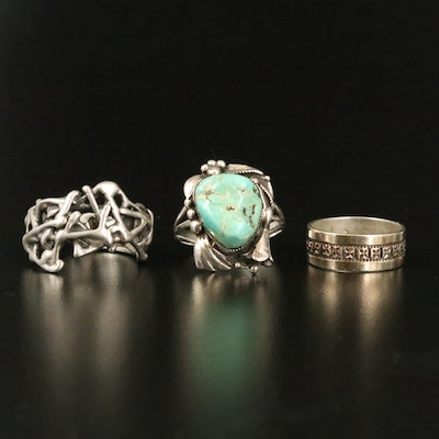 Sterling Freeform, Turquoise Foliate Rings and Band