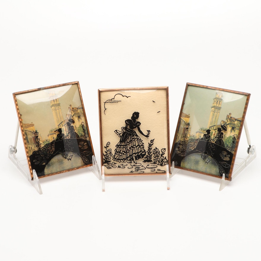 European Printed Silhouettes Wall Decorations, Mid-20th Century