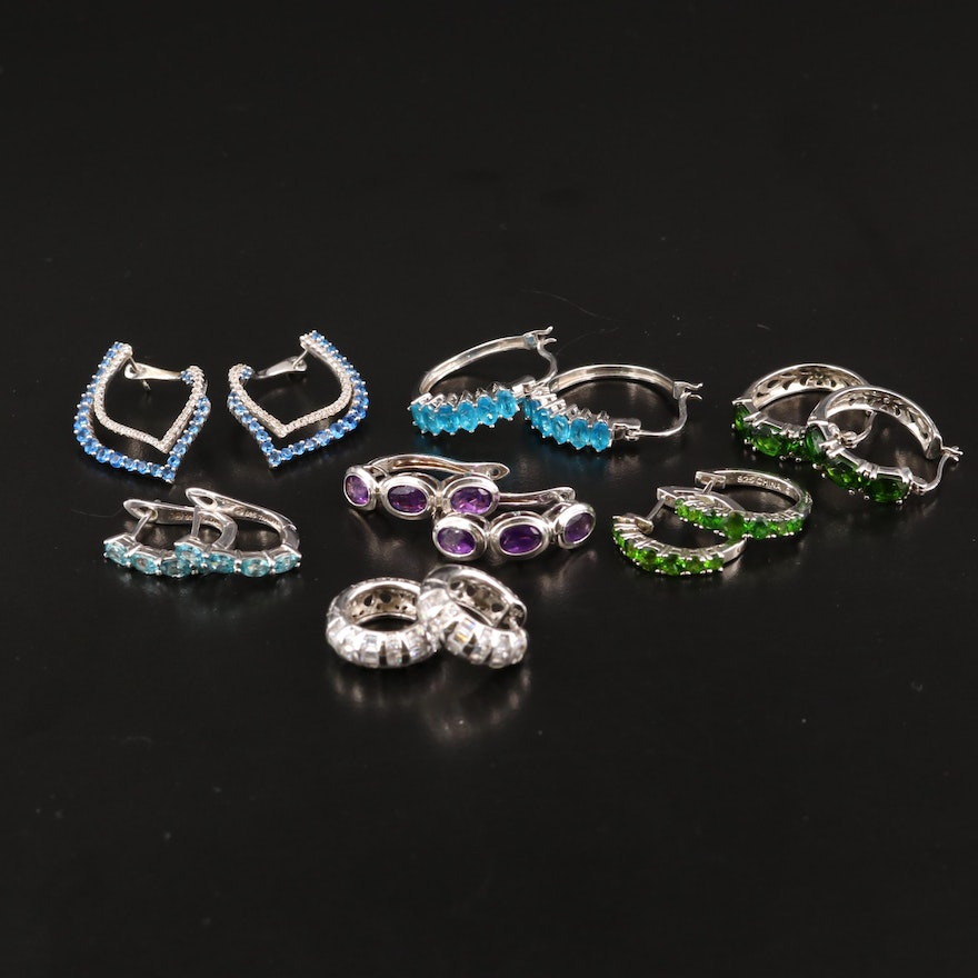 Sterling Silver Hoop Earrings Selection Featuring Apatite, Spinel and Topaz