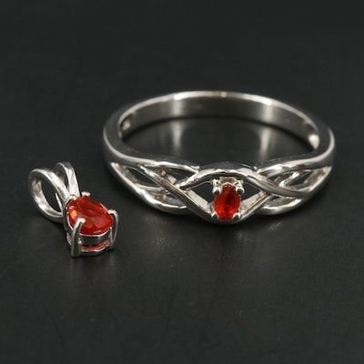 Sterling Silver Fire Opal Ring and Pendant