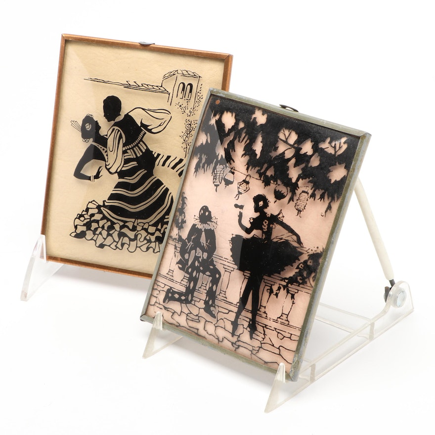 Printed Silhouette Dancing Partners Framed Pictures, Mid-20th Century