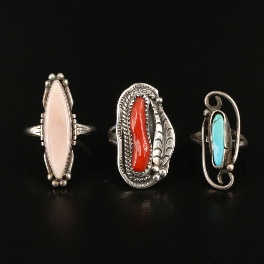 Southwestern Style Sterling Silver Turquoise, Coral and Mother of Pearl Rings