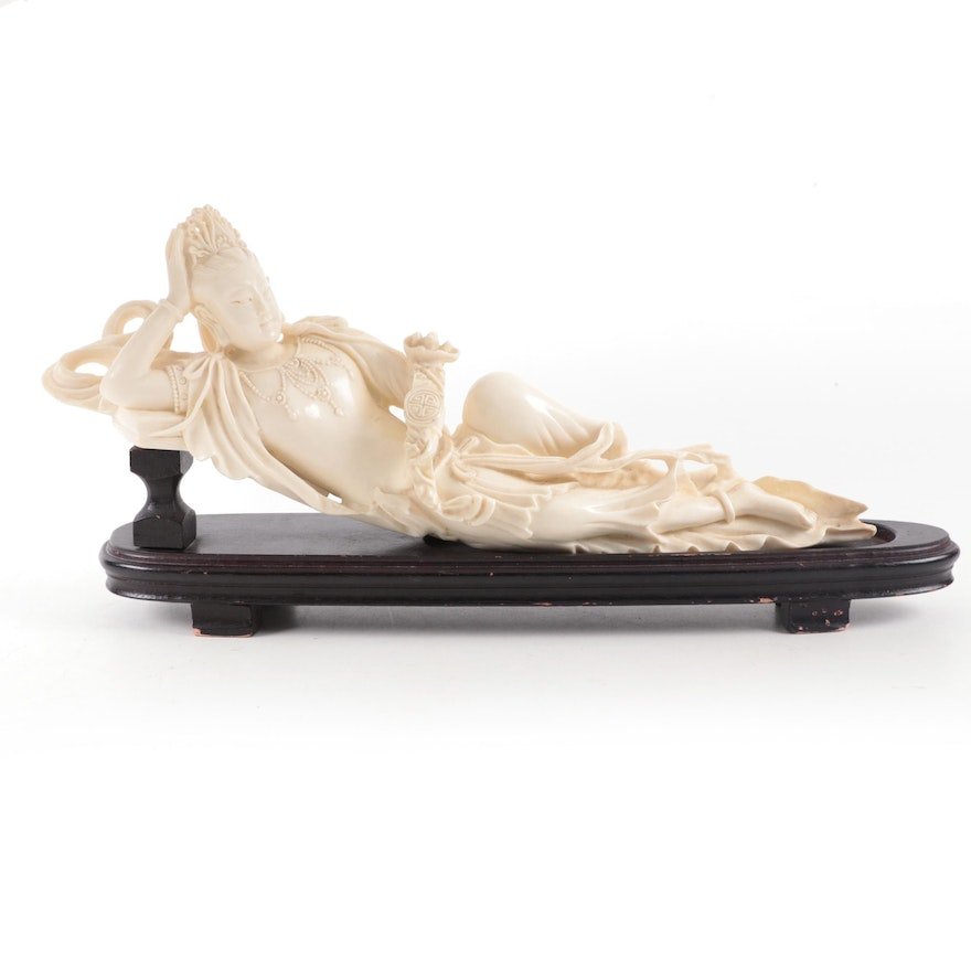 Chinese Reclining Bodhisattva Resin Figurine on Wooden Stand