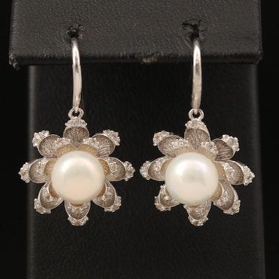 Sterling Pearl and Topaz Flower Drop Earrings