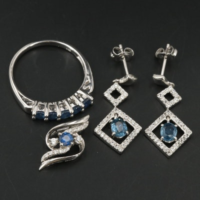 Sterling Ring, Pendant and Earrings Including Sapphire and Topaz