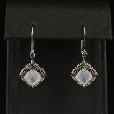 Sterling Silver Common Opal and Diamond Earrings