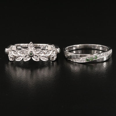 Sterling Silver Diamond and White Zircon Bands Featuring Floral Design