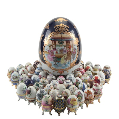 Faberge Style Hand-Painted Porcelain Eggs with Stands