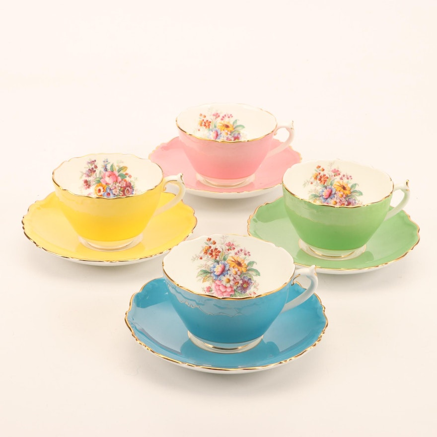 Coalport Bone China Pastel Tea Cup and Saucer Set, Mid to Late 20th C.