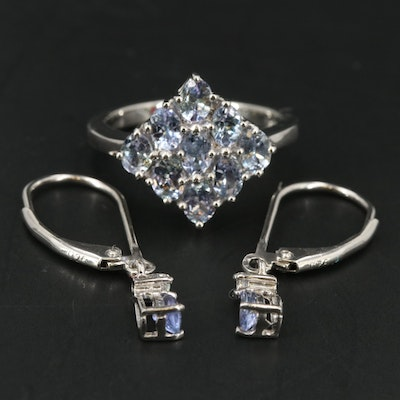 Sterling Cluster Ring and Earrings Including Tanzanite and Topaz