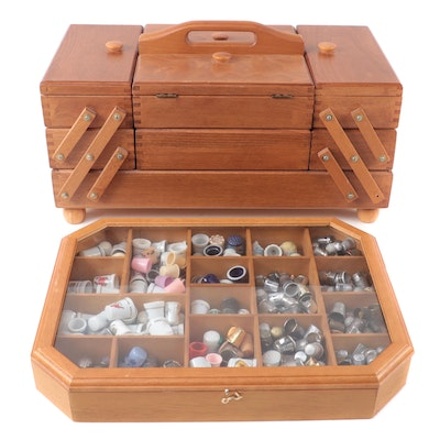 Thimbles, Sewing Accessories, Buttons, Fold Out Wooden Box, and Display Case