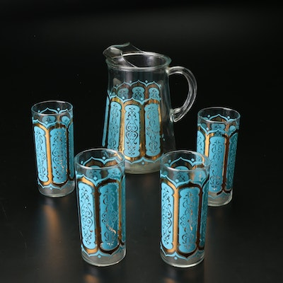Mid Century Modern Turquoise and Gold Drinking Glasses and Pitcher Set