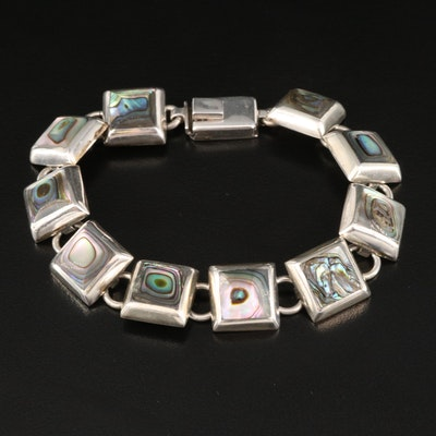 Mexican 950 Silver and Abalone Link Bracelet
