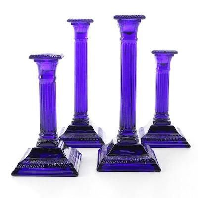 Cobalt Glass Column Candlesticks, Late 20th Century