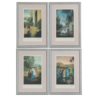 Offset Lithographs After Sam Butcher of Religious Scenes, Late 20th Century