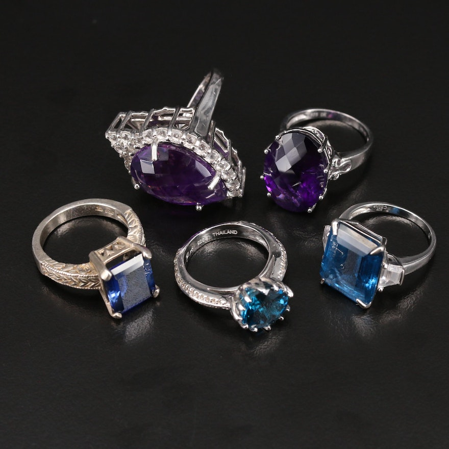 Sterling Ring Selection with Amethyst, Topaz and Sapphire