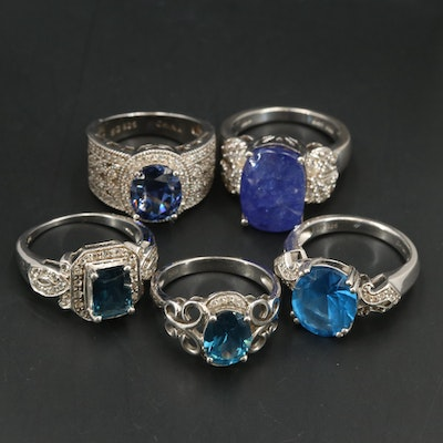 Sterling Rings Including Tanzanite, Topaz and Cubic Zirconia