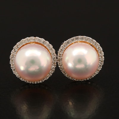 Sterling Pearl and Topaz Halo Stud Earrings