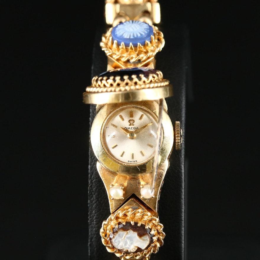 14K Omega Hidden Dial Gemstone Wristwatch