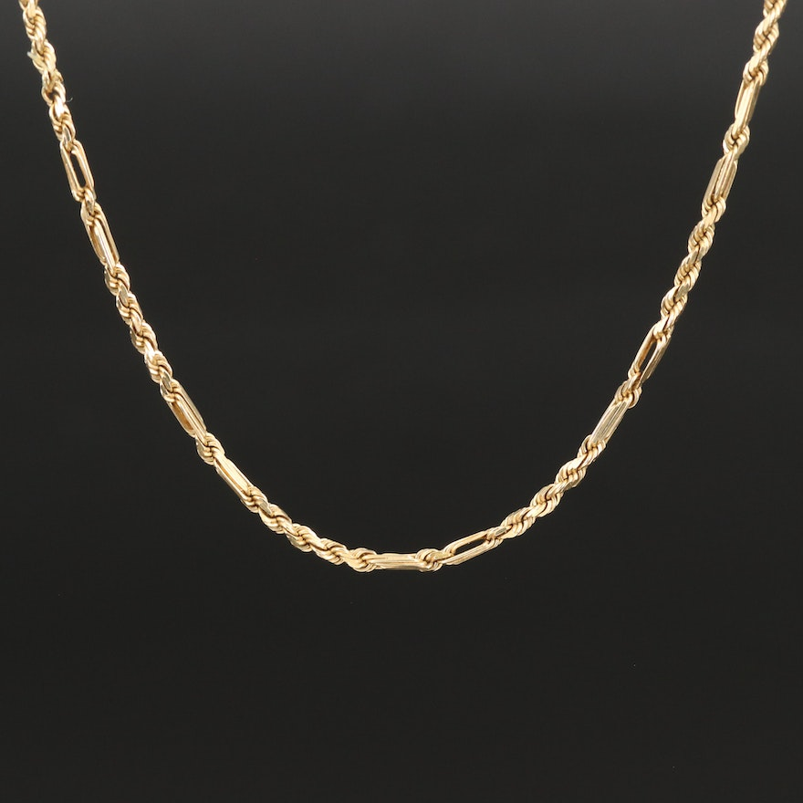 14K Figaro Style Chain Necklace