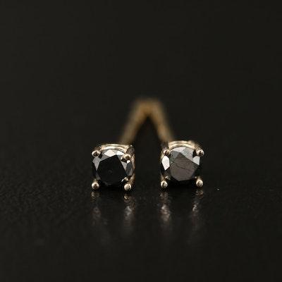 14K 0.14 CTW Black Diamond Stud Earrings