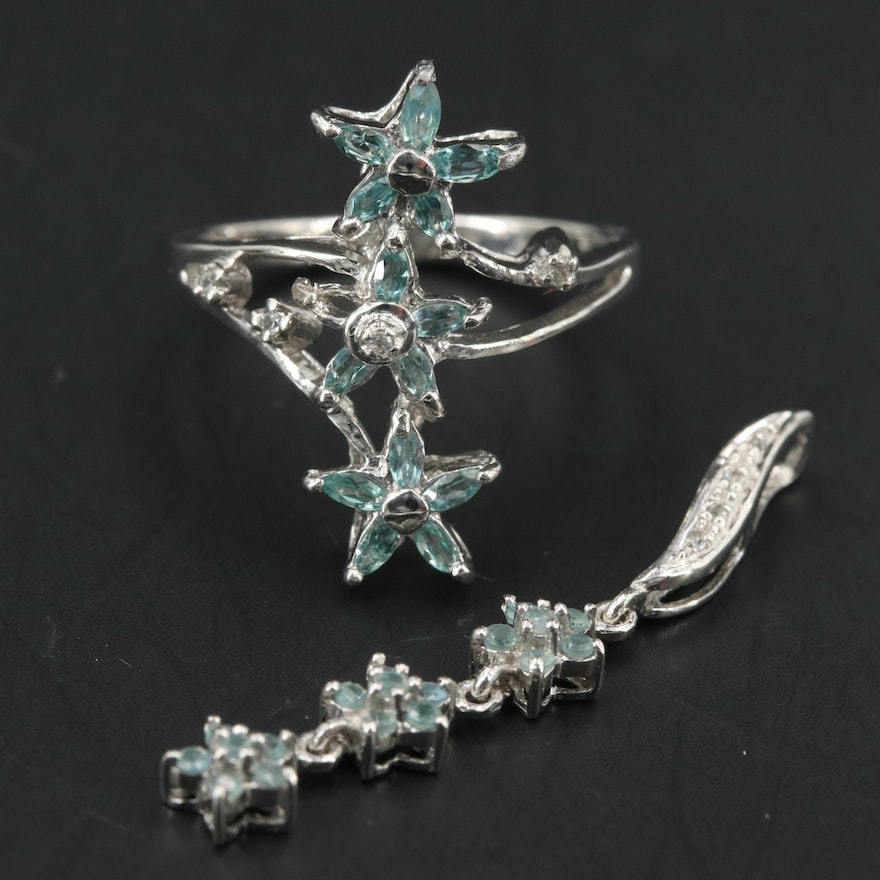 Sterling Alexandrite and White Topaz Star Ring and Pendant