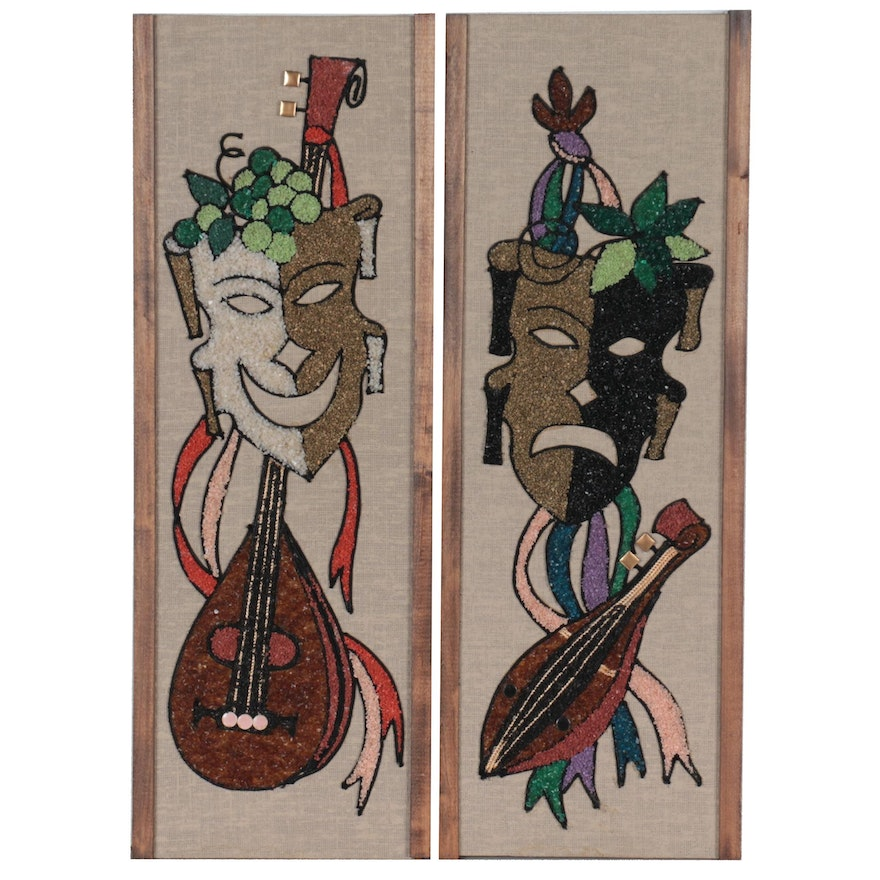 Mixed Media Panels of Comedy and Tragedy Masks, Mid-20th Century