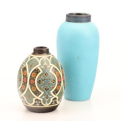 French Pottery Blue-Glazed Vase and Arabesque-Painted Vase