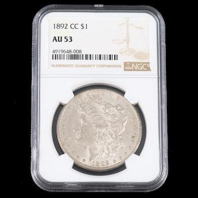 Key Date NGC Graded AU53 1892-CC Morgan Silver Dollar