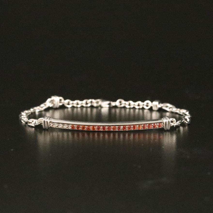 Sterling Sapphire Bar Bracelet