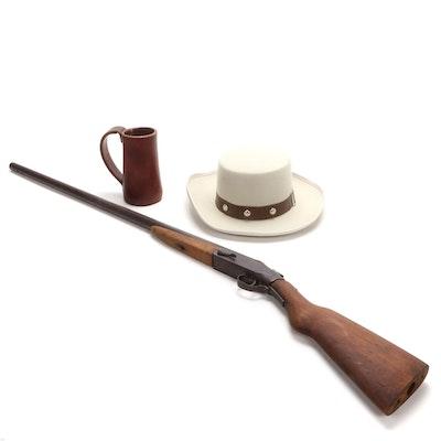 """The Denver"" Wool Hat, Leather Stein, and Single Barrel Shotgun"
