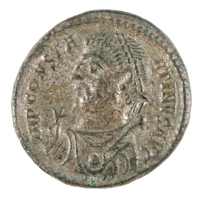 Ancient Roman Imperial AE Silvered Follis Coin of Constantine I, ca. 307 AD