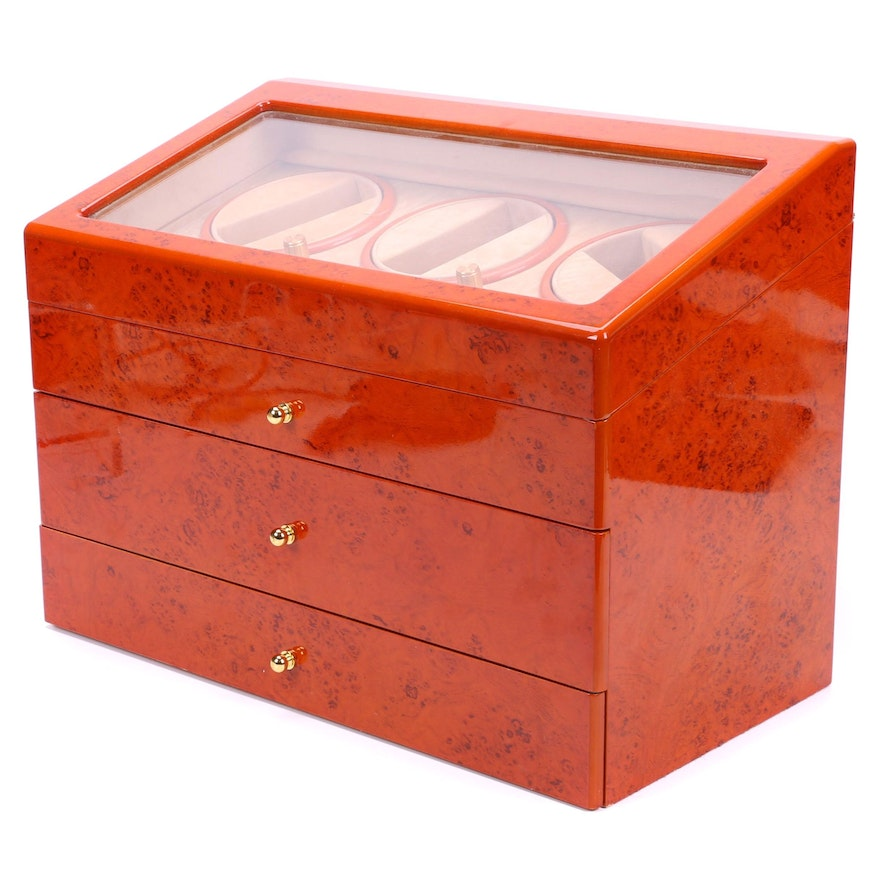 High Gloss Burl Wood Finished Watch Winder Display Case with Storage Drawers