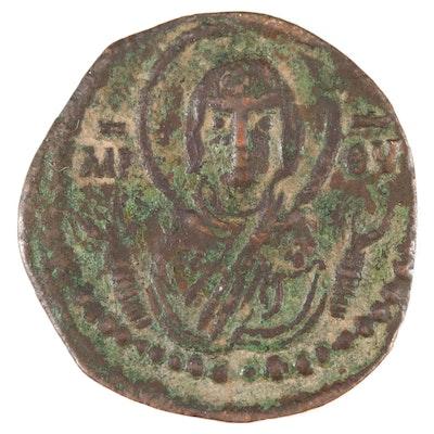 Ancient Byzantine Class G Anonymous Follis Coin, Virgin Mary/Christ, ca. 1068