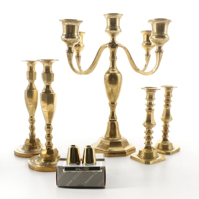 Brass Candelabra, Boyd Welch and Other Candlestick Pairs and Candle Followers