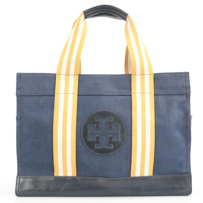 Tory Burch Logo Tote in Navy Blue Canvas with Leather Trim