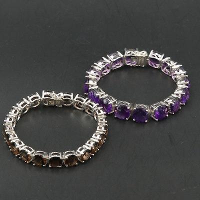 Sterling Bracelets Including Amethyst and Smoky Quartz